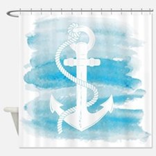 Watercolor Anchor Shower Curtain