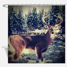 forest white tail deer  Shower Curtain