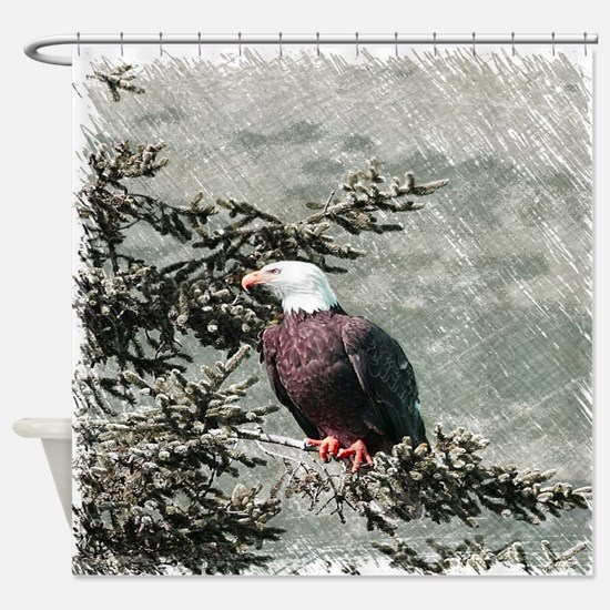 rustic trees american eagle Shower Curtain