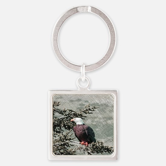 rustic trees american eagle Square Keychain