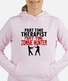 Therapist Part Time Zombie Hunter Women's Hooded S