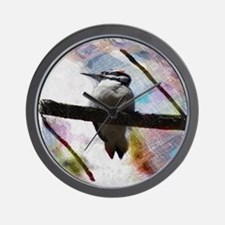 elegant nature watercolor woodpecker Wall Clock