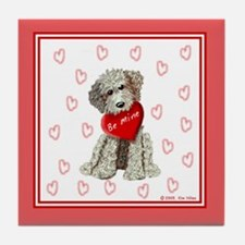 Labradoodle Love, Be Mine Tile Coaster