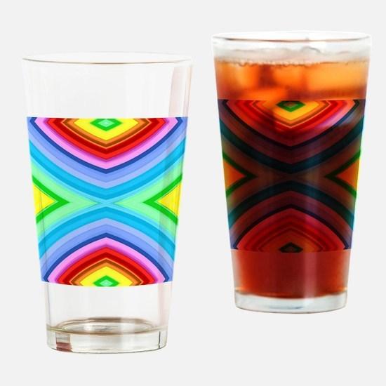 neon rainbow geometric pattern Drinking Glass