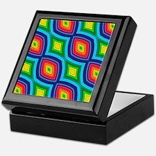 retro rainbow geometric diamond Keepsake Box