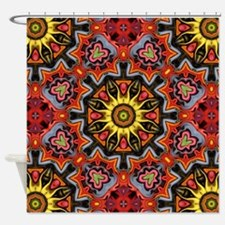 yellow sun tribal flames  Shower Curtain