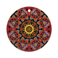 yellow sun tribal flames  Round Ornament