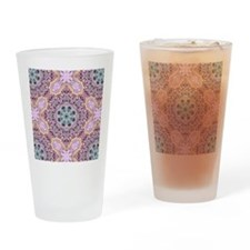 pink bohemian floral mandala Drinking Glass