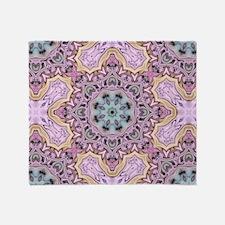 pink bohemian floral mandala Throw Blanket
