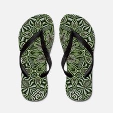 hipster preppy leaves mandala Flip Flops