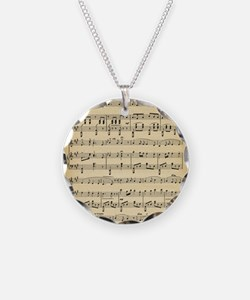 Antique Sheet Music Necklace Circle Charm