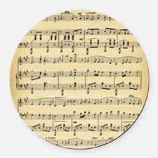 Antique Sheet Music Round Car Magnet