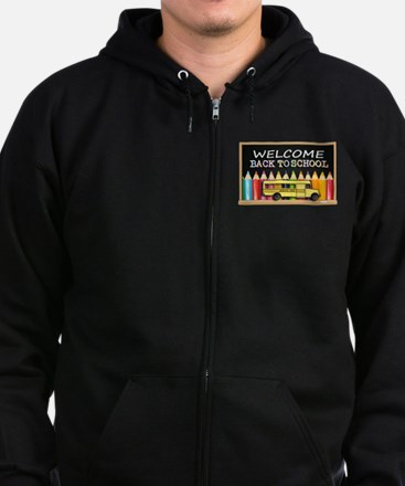 WELCOME BACK TO SCHOOL BUS Zip Hoodie (dark)