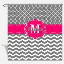 Gray Hot Pink Chevron Personalized Shower Curtain