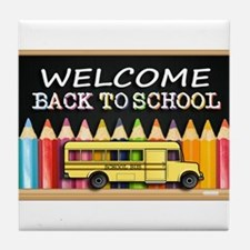 WELCOME BACK TO SCHOOL BUS Tile Coaster