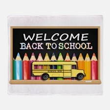 WELCOME BACK TO SCHOOL BUS Throw Blanket
