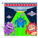 Alien Monster Invasion Shower Curtain