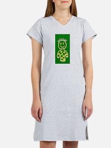 Green Cute Smiling Girl for Sop Women's Nightshirt