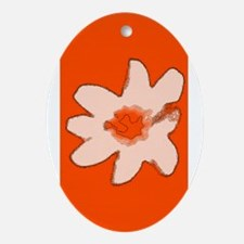 Orange Floral Flower Wilma's Fave Ornament (Oval)