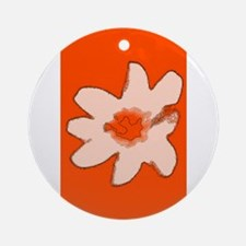 Orange Floral Flower Wilma's Fave Ornament (Round)
