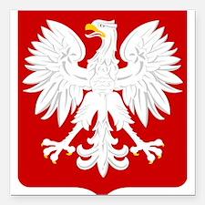 "Arms of Poland Square Car Magnet 3"" x 3"""