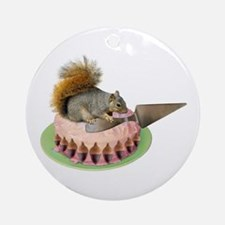 Squirrel Cutting Cake Ornament (Round)