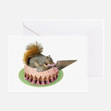 Squirrel Cutting Cake Greeting Card