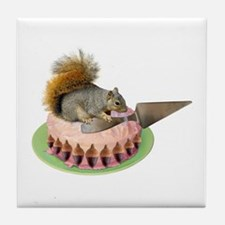 Squirrel Cutting Cake Tile Coaster
