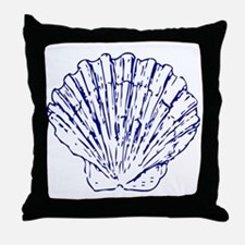 Simple Blue Shell Throw Pillow