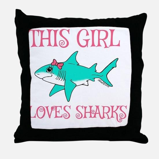 Shark Girl Throw Pillow