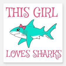 """Shark Girl Square Car Magnet 3"""" x 3"""""""
