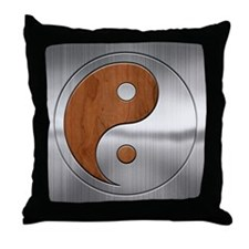 Wood Chrome Yang Throw Pillow