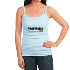 Vegetarian - My Food Does Not Scream Blk Text Tank