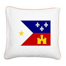 Acadiana Flag Louisiana Square Canvas Pillow