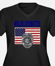 Cute Law enforcement Women's Plus Size V-Neck Dark T-Shirt