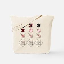 Drawing method of maruni-chigai-takanoha Tote Bag