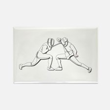 Fencing - 2 Fencers - Silhouette- Rectangle Magnet