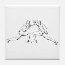 Fencing - 2 Fencers - Silhouette- Whi Tile Coaster