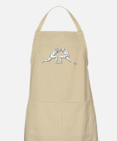 Fencing - 2 Fencers - Silhouette- White Apron