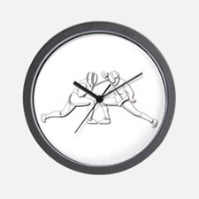 Fencing - 2 Fencers - Silhouette- White Wall Clock