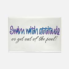 Swim With Attitude Rectangle Magnet