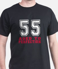 55 Aged To Perfection Birthday Design T-Shirt