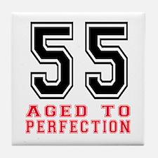 55 Aged To Perfection Birthday Design Tile Coaster