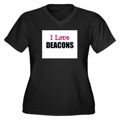 I Love DEACONS Women's Plus Size V-Neck Dark T-Shi