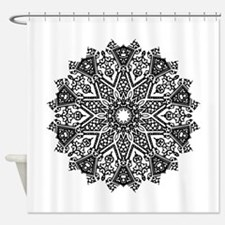 Black and White Mandala Shower Curtain