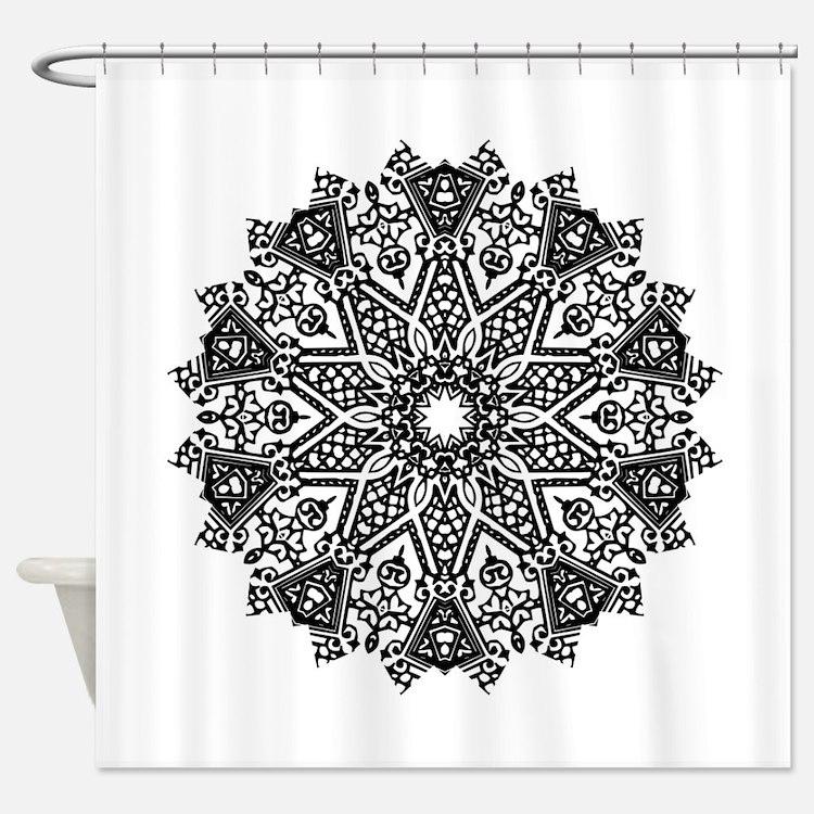 Black And White Mandala Shower Curtains