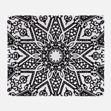 Black and White Mandala Throw Blanket