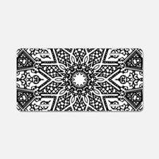 Black and White Mandala Aluminum License Plate
