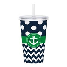 Navy Green Anchor Personalized Acrylic Double-wall