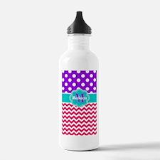 Purple Pink Dots Chevron Personalized Water Bottle